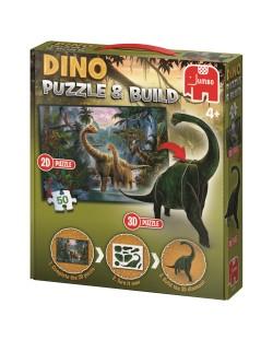 Puzzle Jumbo  de 50 piese- Cu figurina dinozaur 3D inclusa