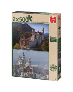 Puzzle Jumbo 2 x 500 piese - Atunci si acum, Anotimpuri, Toamna si iarna