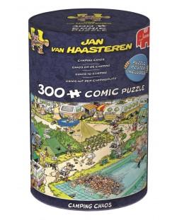 Puzzle Jumbo de 300 piese - Haos in camping , Jan Van Haasteren