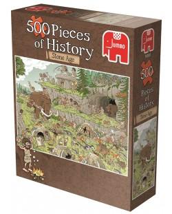 Puzzle Jumbo de 500 piese - Bucati de istorie , Epoca de piatra, Derks