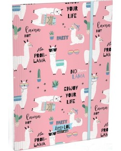 Dosar cu elastic Lizzy Card A4 - Lama LOL, Lollipop