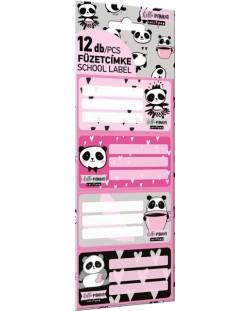 Etichete scolare Lizzy Card - Hello Panda, Lollipop, 12 bucati