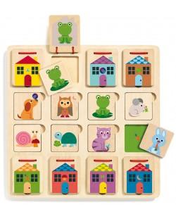 Puzzle multistrat din lemn Djeco - Cabanimo, 3 niveluri