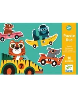 Puzzle educativ Djeco Duo din 20 de piese - Masini de curse