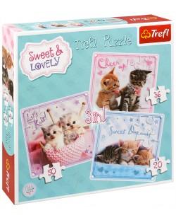 Puzzle Trefl 3 in 1 - Pisoiasi dulci