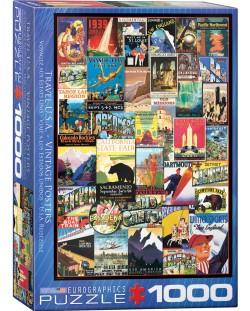 Puzzle Eurographics de 1000 piese – Reclame retro, calatorie in America