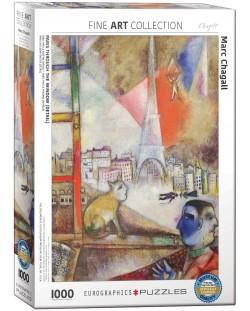 Puzzle Eurographics de 1000 piese – Paris de la fereastra, Mark Chagall