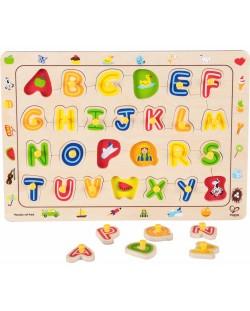 Puzzle din lemn cu manere Hape - Alfabet