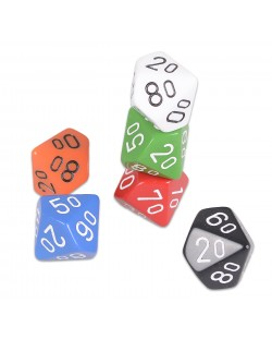 Zar  Chessex D10 cu procente, netransparent, culoare aleatorie