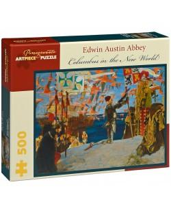 Puzzle Pomegranate de 500 piese - Columb in lumea noua, Edwin Abbey