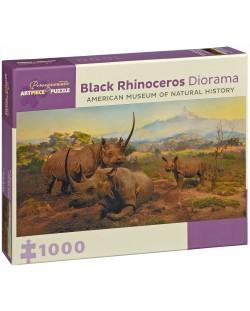 Puzzle Pomegranate de 1000 piese - Rinoceri negri