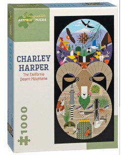 Puzzle Pomegranate de 1000 piese - Muntii desertului in California, Charley Harper