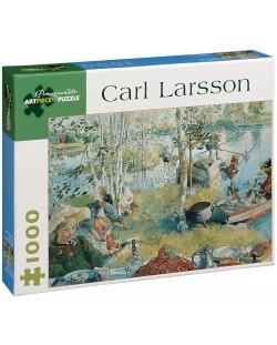 Puzzle Pomegranate de 1000 piese - La vanatoare de raci de rau, Carl Larsson