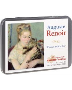 Puzzle Pomegranate de 100 piese - Femeie cu pisica, Pierre Renoir