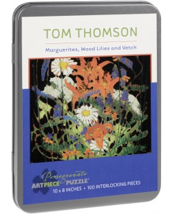 Puzzle Pomegranate de 100 piese - Margarete,crini de lemn si vicia, Tom Thomson