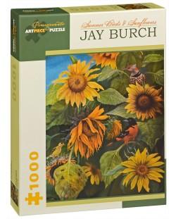 Puzzle Pomegranate de 1000 piese - Pasarile verii si floarea soarelui, Jay Burch