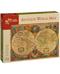 Puzzle Pomegranate de 1000 piese - Harta antica a lumii, Henricus Hondius