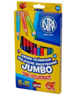 Creioane cu doua capete Jumbo colorate Astra -12 bucati, 24 culori, cu ascutitoare