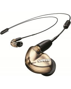 Casti wireless cu microfon Shure - SE535, bronz