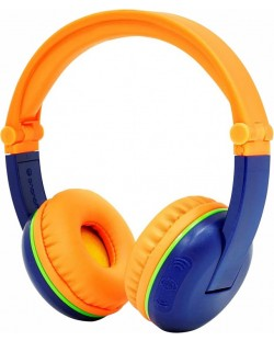 Casti wireless BuddyPhones - SCOUT PLAY, albastre/portocalii