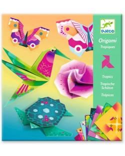 Set pentru origami Djeco - Tropic, cu 24 de hartii neon