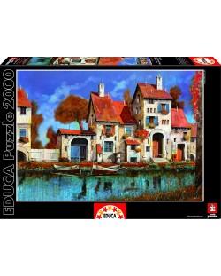 Puzzle Educa de 2000 piese - Ferma de langa lac, Guido Borelli