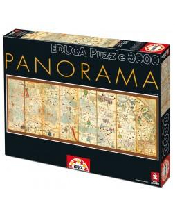 Puzzle panoramic Educa de 3000 piese - Harta medievala, Abraham Cresques