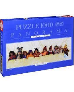 Puzzle panoramic Educa de 1000 piese - Zece intr-un pat, Anne Geddes