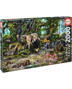 Puzzle Educa de 2000 piese - Jungla africana, John Enright