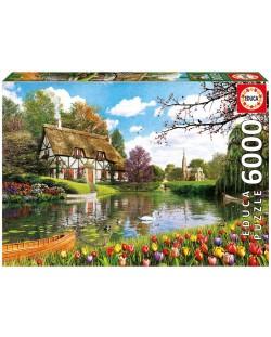Puzzle Educa de 6000 piese - Casuta langa lac