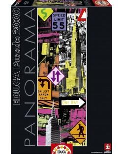 Puzzle panoramic Educa de 2000 piese - New York, Pop art