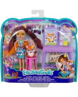 Set de joc Mattel Enchantimals - Studio de arta cu Felicity Fox si Flick