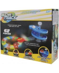 Pista luminoasa Asis Glow Track - 62 piese, cu 1 masinuta