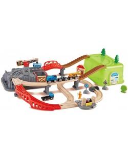 Set de joaca Hape - Compozitie feroviara din lemn, 50 de piese