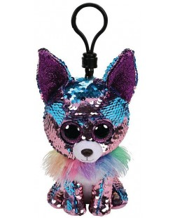 Breloc cu paiete TY Toys Flippables - Chihuahua Yappy, 8.5 cm