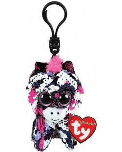 Breloc cu paiete TY Toys Flippables - Zebra Zoey, 8.5 cm