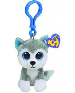 Breloc TY Toys Beanie Boo - Husky Slush, 8.5 cm
