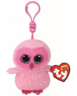 Breloc TY Toys Beanie Boo - Bufnita Twiggi, 8.5 cm