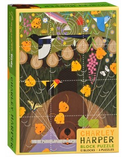 Puzzle-uri cubulete Pomegranate de 12 piese - Pasari, Charley Harper