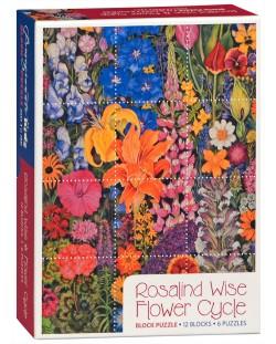 Puzzle-uri cubulete Pomegranate de 12 piese - Flori, Rosalinda Wise