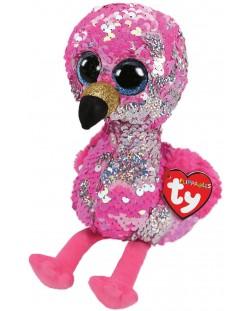 Jucarie de plus cu paiete TY Toys Flippables - Flaming Pinky, 15 cm