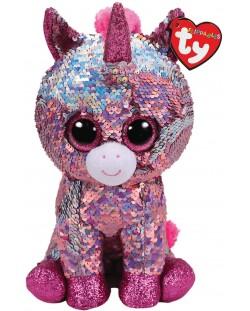 Jucarie de plus cu paiete TY Toys Flippables - Unicorn Sparkle, 15 cm