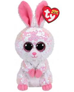 Jucarie de plus cu paiete TY Toys Flippables - Iepure Bonnie, 15 cm