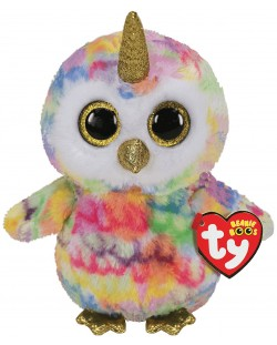 Jucarie de plus TY Toys Beanie Boos - Bufnita cu corn Enchanted, 15 cm