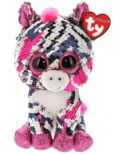 Jucarie de plus cu paiete TY Toys Flippables - Zebra Zoey, 15 cm