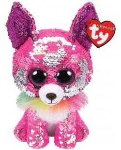 Jucarie de plus cu paiete TY Toys Flippables - Chihuahua Charmed, 15 cm