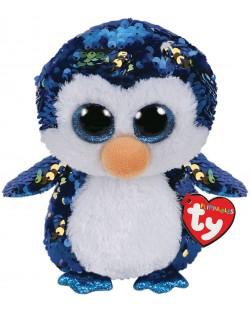 Jucarie de plus cu paiete TY Toys Flippables - Pinguin Payton, 15 cm