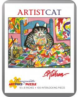 Puzzle Pomegranate de 100 piese - Pisica pictor, Bernard Kliban