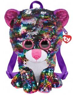 Rucsac de plus cu paiete TY Toys - Leopard Dotty, 25 cm