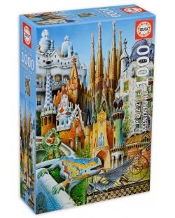 Puzzle Educa de 1000 piese mini - Colaj, cladirile lui Gaudi, miniatura